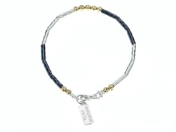 Oxidised Silver Gold Bracelet