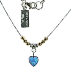 Sterling silver necklace with 14k rolled gold beads set with an opalite heart pendant