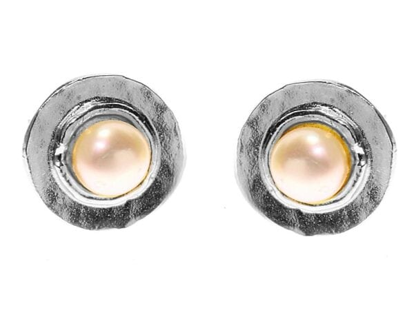 Silver Freshwater Pearl Stud Earrings, White