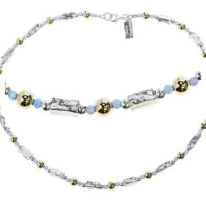 Silver Gold Opal Necklace