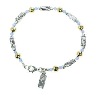 Stunning sterling silver bracelet with 14k rolled gold beads set with opalite gems