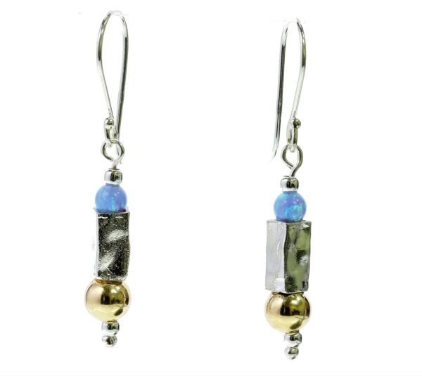 Hammered Silver Gold Earrings With Opals