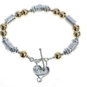 Heart Silver Gold Handmade Bracelet
