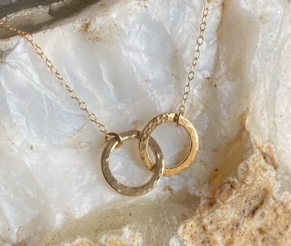 Fine Double Gold Disc Layered Necklace