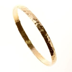 14ct Hammered Gold Bangle