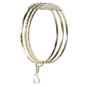 Triple Silver Gold Bangle With Heart Charm