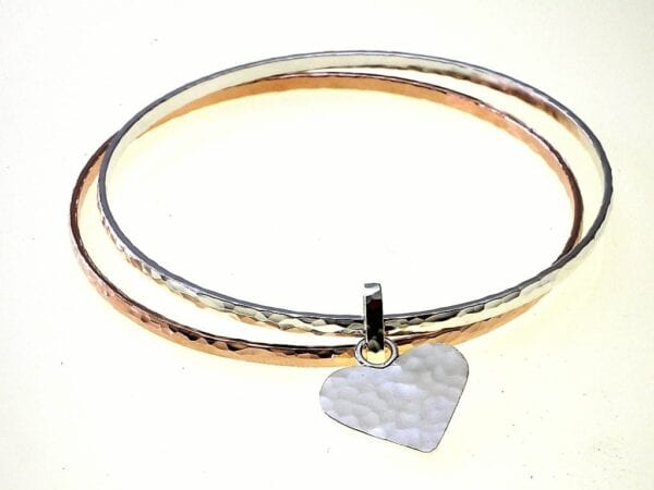 Double Silver Gold Bangle With Heart Charm