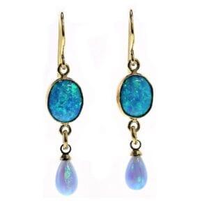 Opal Drop Gold Earrings