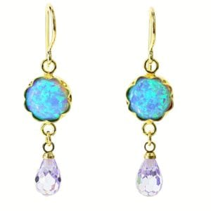 Opal Amethyst Drop Gold Earrings