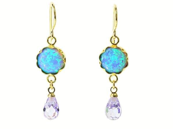 Opal Amethyst Drop Gold Earrings