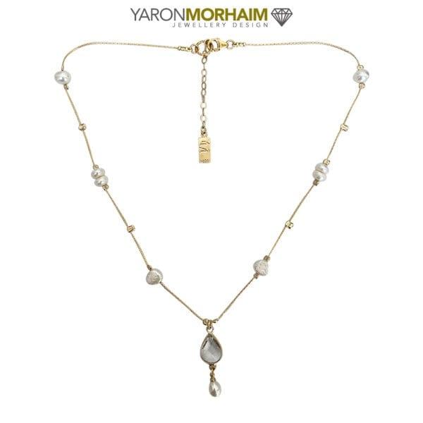 Gold Pearl CZ Drop Necklace