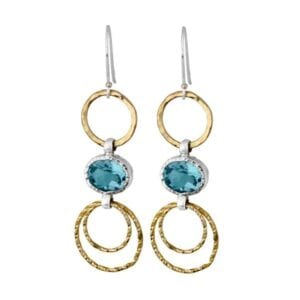 Beautiful sterling silver 925 and gold faceted blue topaz round drop earrings
