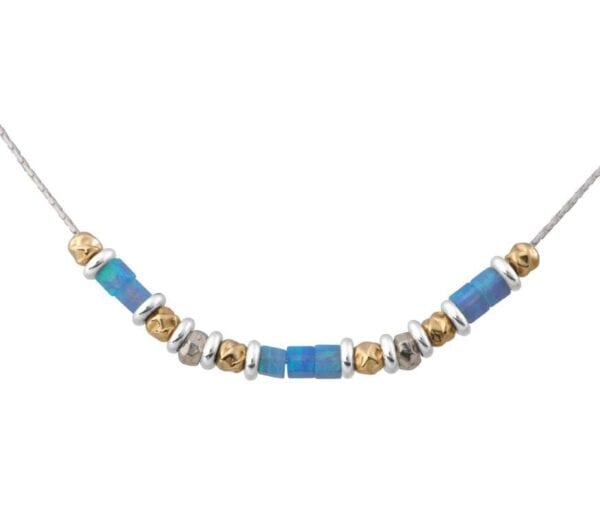 Opal Necklace Silver Gold