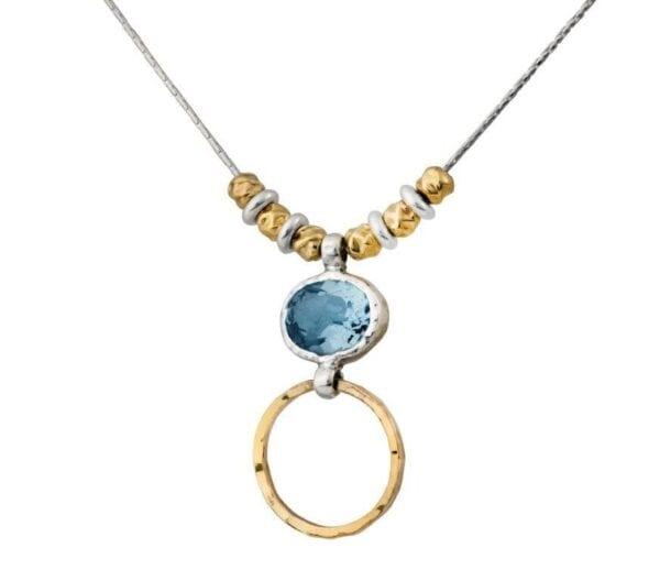 Silver Gold Blue Topaz Necklace