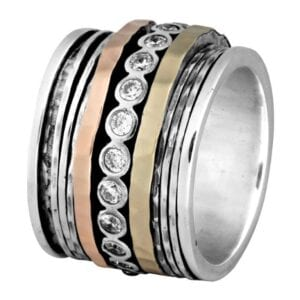 Broad Silver Gold Spinning Ring With CZ