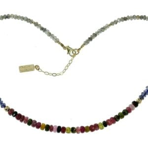 Multi Colour Tourmaline Labradorite Gemstone Necklace