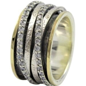 Two Colour Silver Gold Spinning Ring