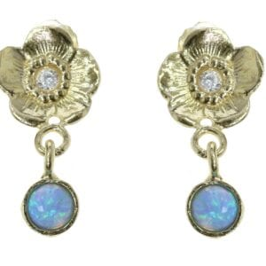 Gold Flower Opal Earrings