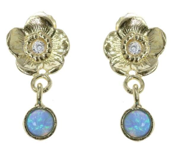 Gold Flower Opal Earrings