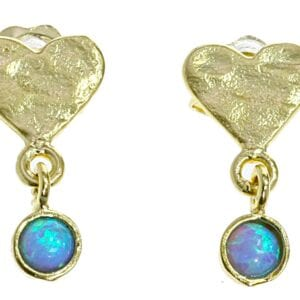 Heart Gold Opal Earrings Studs