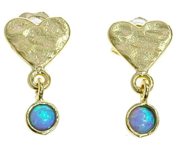 Heart Gold Opal Earrings Studs