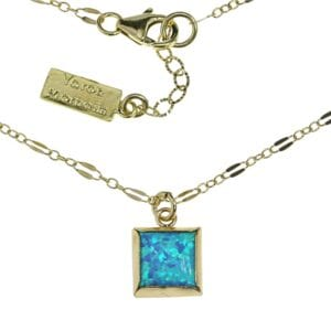 Square Opal Gold Necklace
