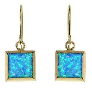Opal Square Gold Earrings