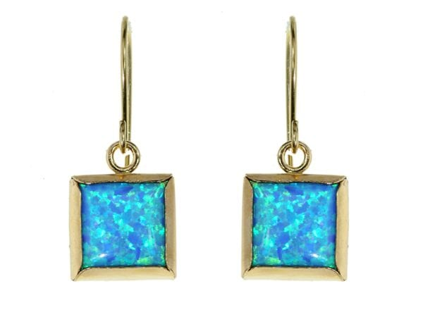 Opal Square Gold Earrings