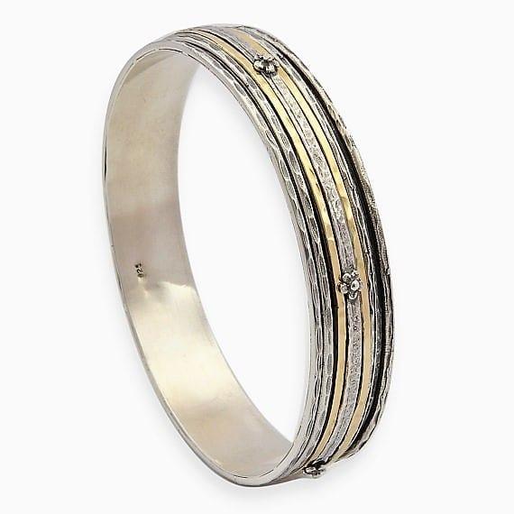 Bangle Hammered Silver Gold