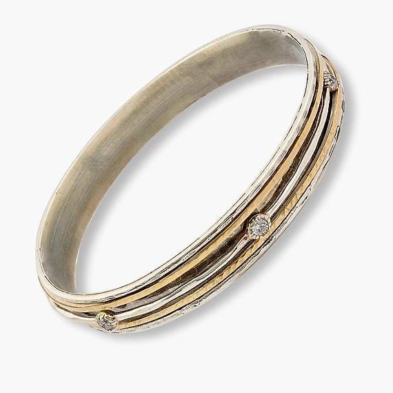Gemstone Bangle Silver Gold