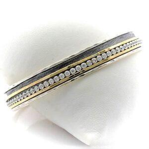 Contemporary Bangle Silver Gold