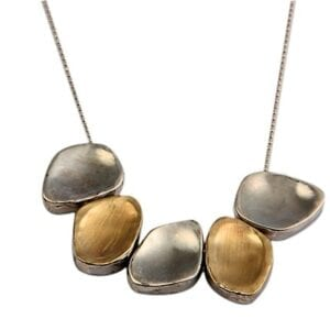 Nuggets Silver Gold Necklace