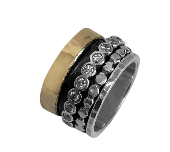 Dazzling Silver Gold Ring