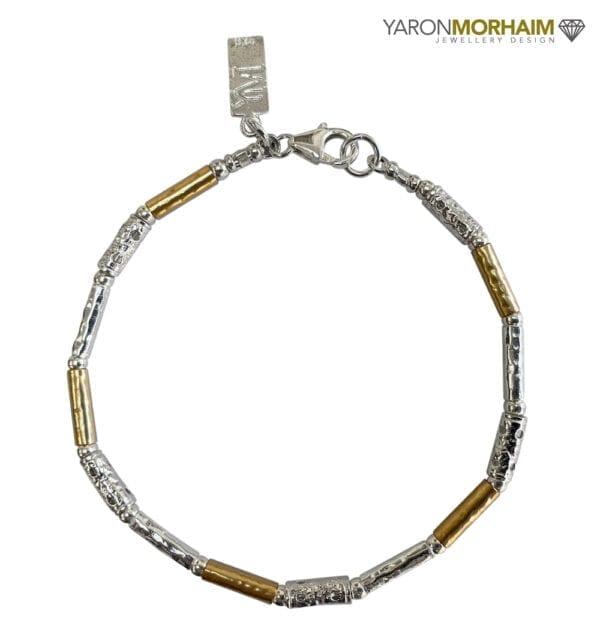 Textured Silver Gold Bracelet