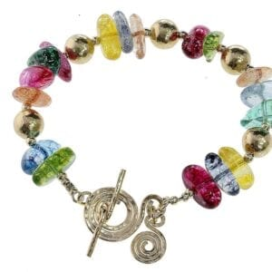 Multi Colour Gemstone Gold Bracelet