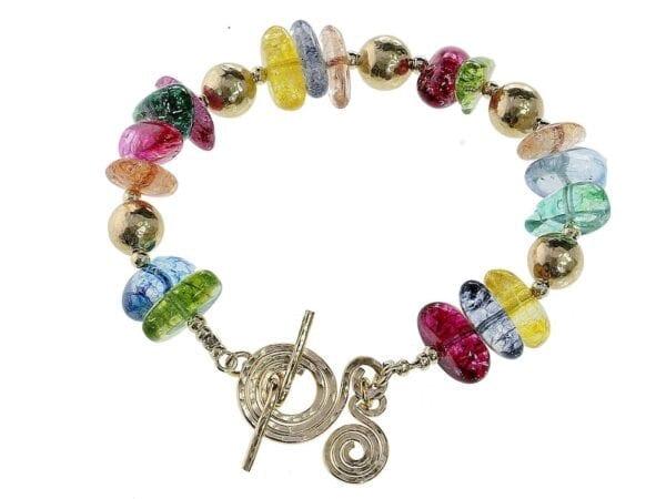 Multi Colour Gemstone Gold Bracelet