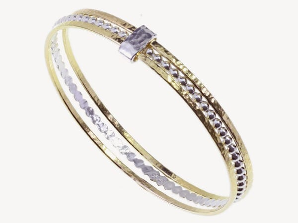 Two Tone Silver & Gold Hammered Bangle