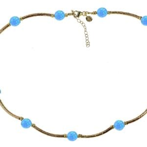 Statement Gold Necklace Opals