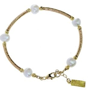 Hammered Bracelet With Pearls