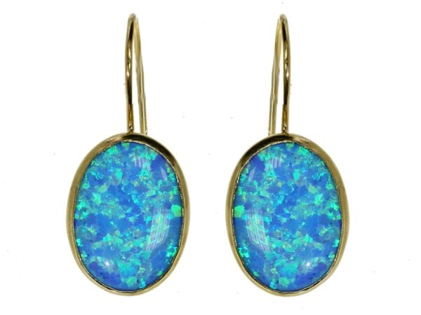 Gold Opal Hook Earrings