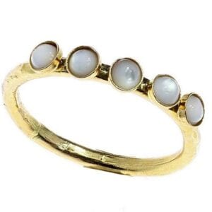Hammered Gold Pearl Ring
