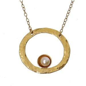 Pearl Gold Hoop Necklace
