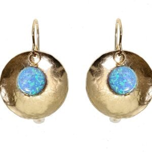 Hammered Round Opal Earrings
