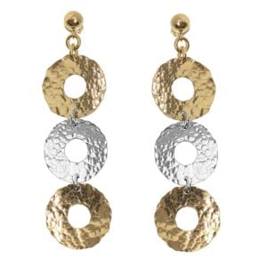 Hammered Loop Silver Earrings