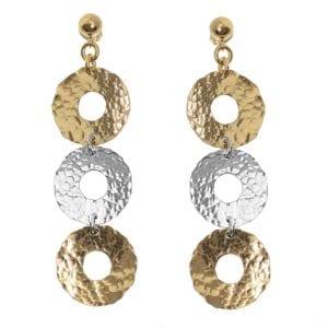 Hammered Loop Silver Earrings