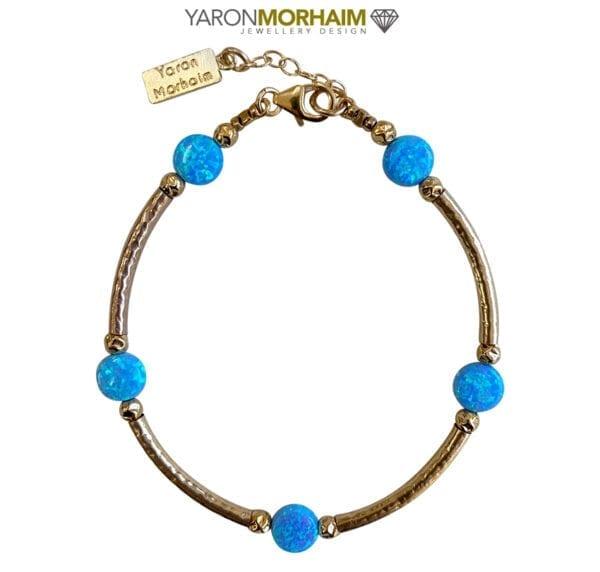 Hammered Bracelet With Opals