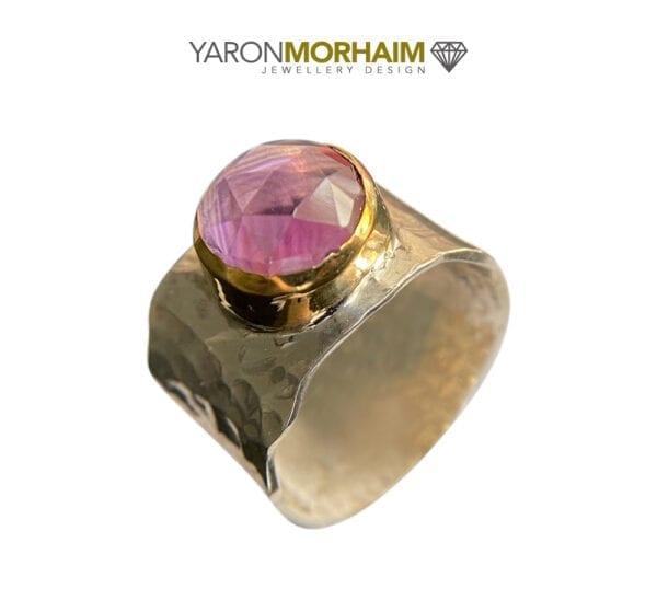 Elegant Faceted Amethyst Silver & Gold Ring