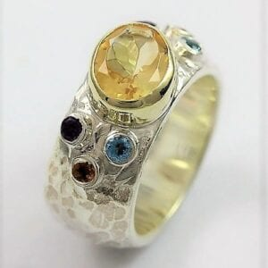 Citrine Silver Gold Ring