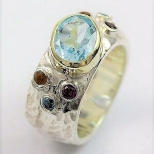Silver Gold Blue Topaz Ring