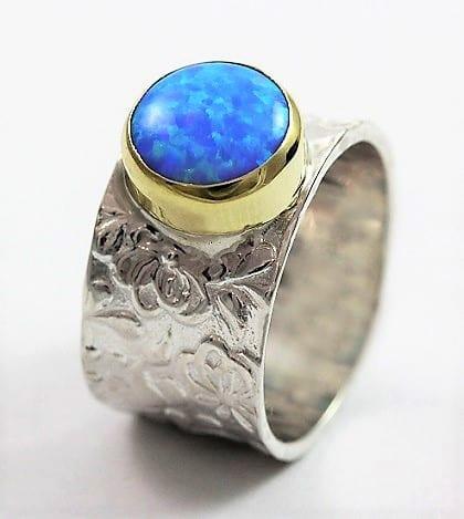 Flower Motif Opal Ring